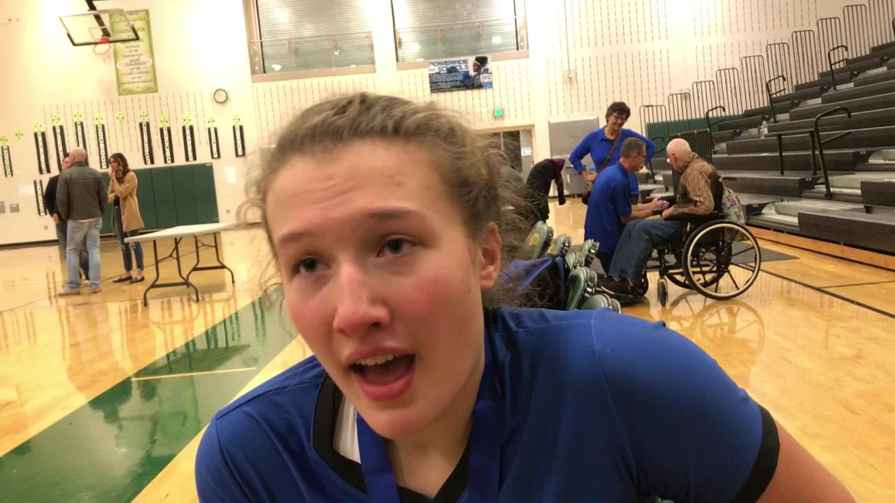 St. Cloud Cathedral senior Gabby Heying  discusses the Crusaders' five-set volleyball victory over Sauk Centre. It earns Cathedral a berth in the state tournament.