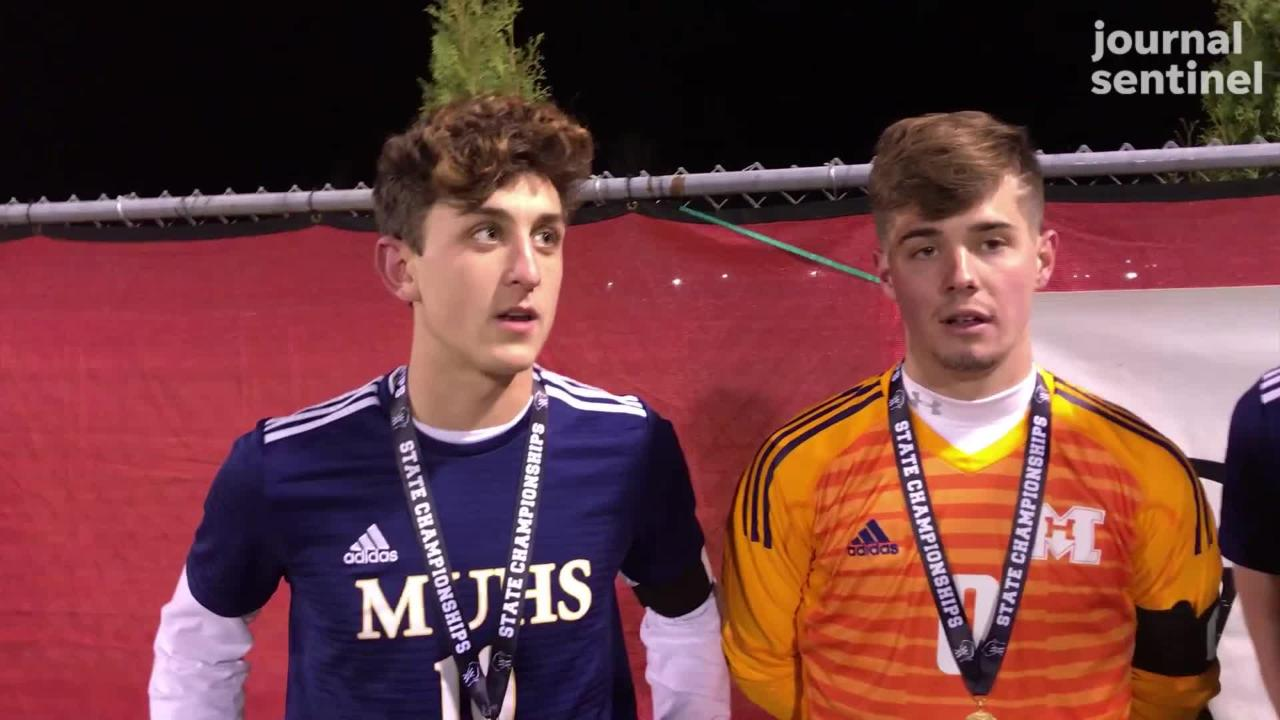 Marquette captains Thomas Bruneau, Carter Abbott and Tim Flannery talk about winning the school's fifth straight state championship.