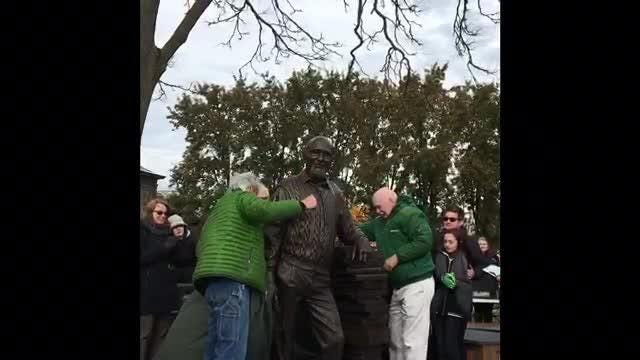 A statue of Howell icon Duane Zemper was unveiled Sunday Nov. 4, 2018 outside the Howell Carnegie District Library.
