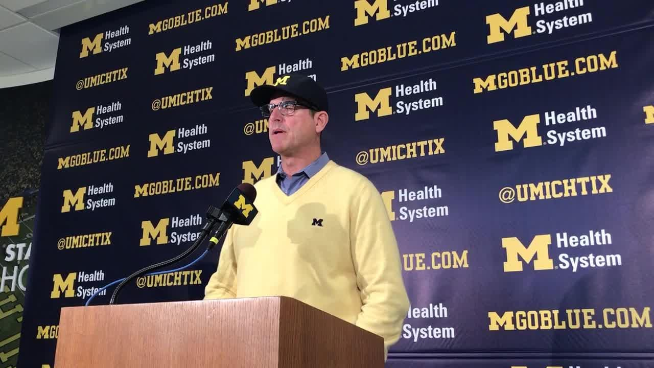 Michigan football's Jim Harbaugh speaks to the media on Monday, Nov. 5, 2018, in Ann Arbor.