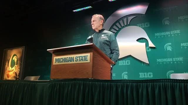 Michigan State football coach Mark Dantonio speaks to the media on Tuesday, Nov. 6, 208, in East Lansing.