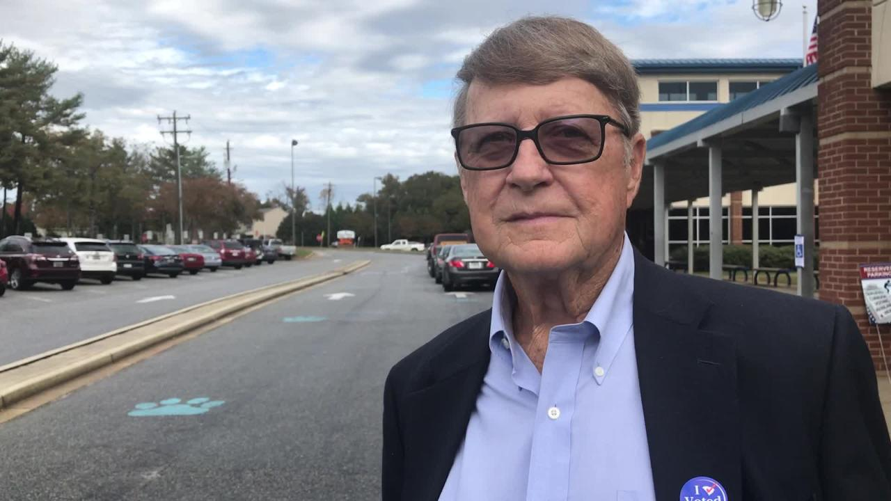Steve Roberts, a voter in Simpsonville at Hillcrest Middle School, on Tuesday, Nov. 6, 2018, cites his reasons for going for voting Republicans.