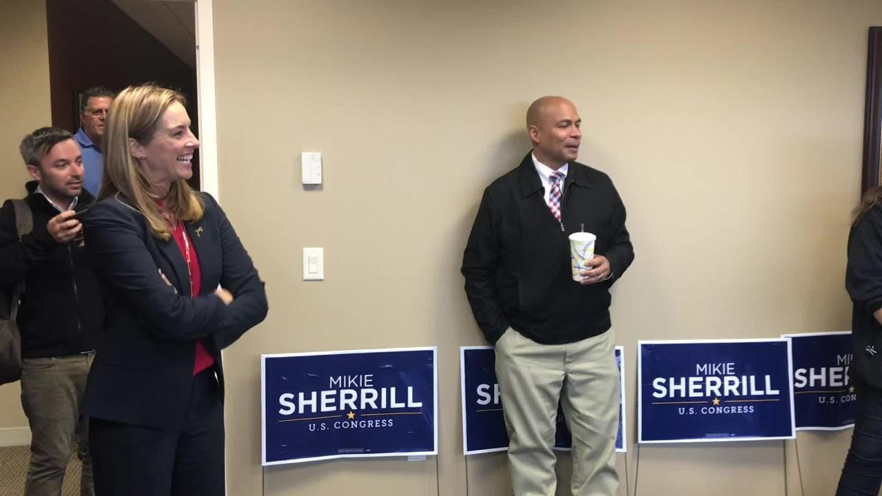Hours before the polls closed, Democratic Congressional candidate Mikie Sherrill gave a pep talk to volunteer canvassers in Parsippany.