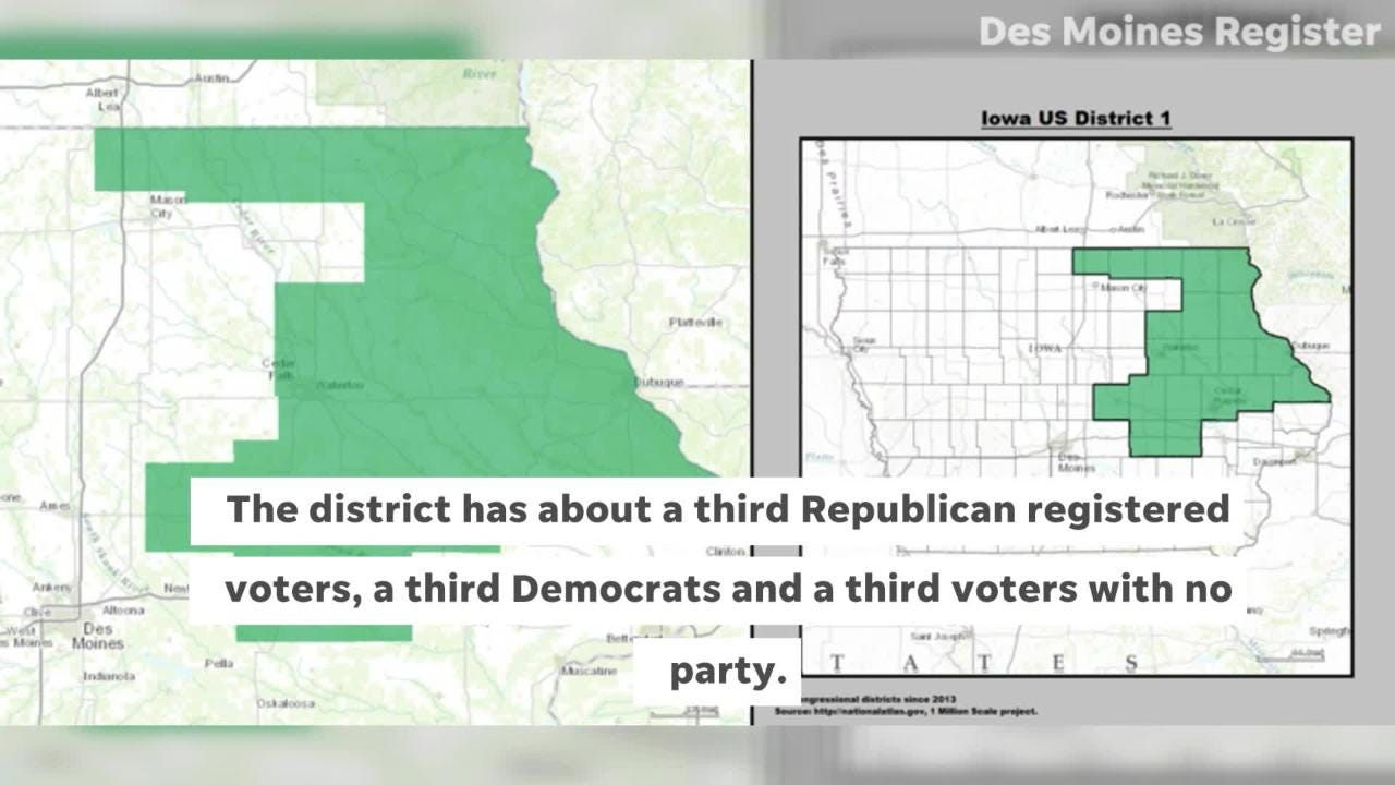Democrat Abby Finkenauer faces off against Republican Rep. Rod Blum in November in northeast Iowa's 1st Congressional District on election day.