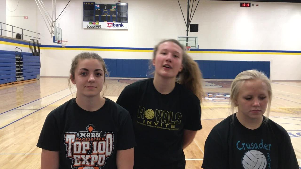 St. Cloud Cathedral volleyball team members Megan Voit, Gabby Heying and Abbey Medelberg talk about Thursday's state tournament.