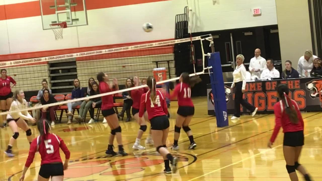 Red Hook returns a jump serve from Owego's Mackenzie Struble and wins a point in Tuesday's Class B state playoff game at Union-Endicott.