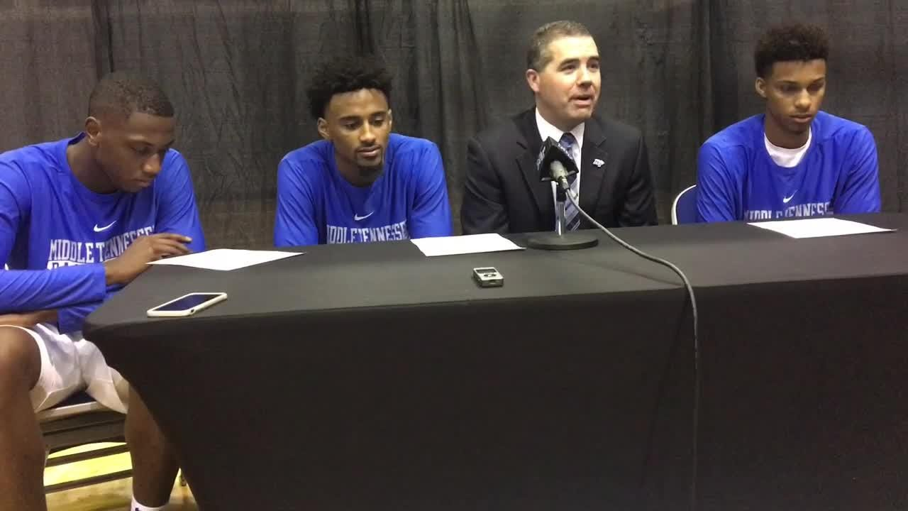 MTSU coach Nick McDevitt and players Donovan Sims, Reggie Scurry and Antonio Green speak following the Blue Raiders' 91-69 win over Lees-McRae on Nov. 6, 2018.