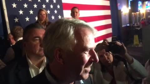 Bob Hugin speaks to several reporters after his concession speech in the race for NJ senator on election night, Nov. 6, 2018.