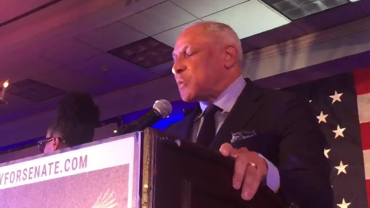 Democrat Mike Espy speaks at a campaign party in Jackson after it was announced he'll face Cindy Hyde-Smith in runoff for U.S. Senate seat.