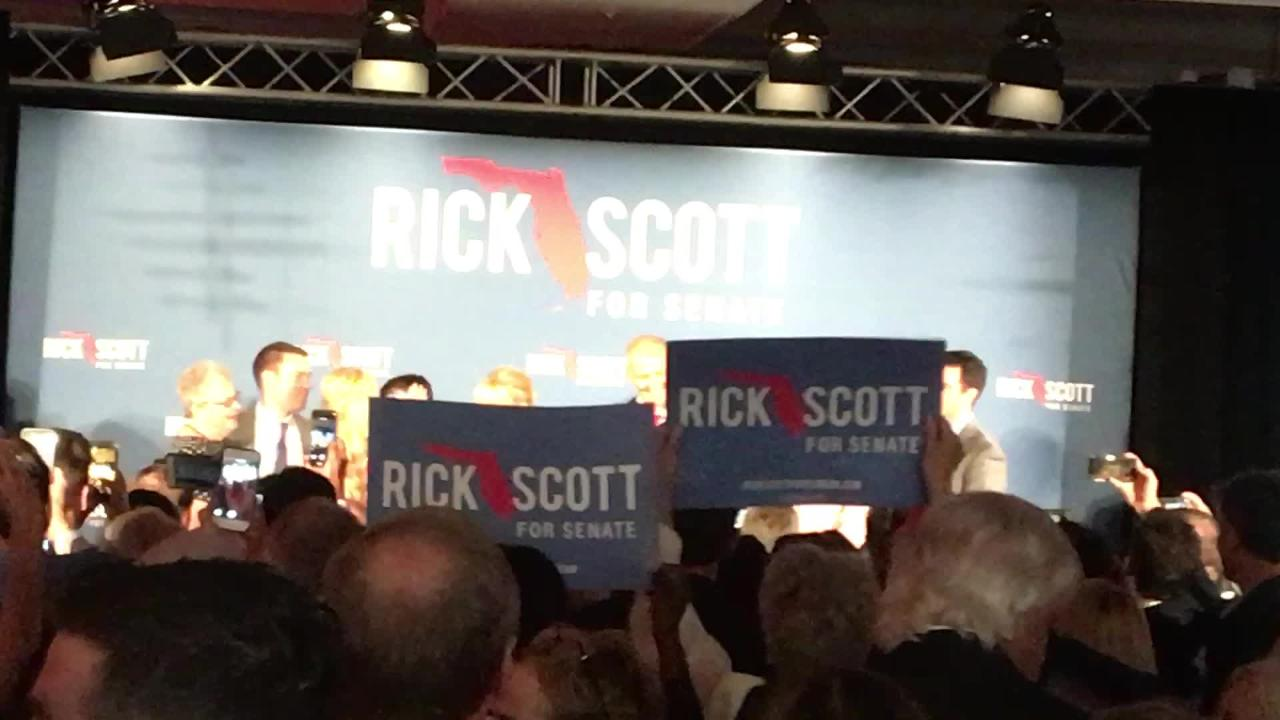 Rick Scott makes acceptance speech in U S  Senate race