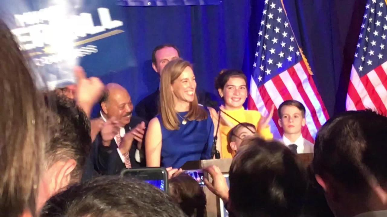 Mikie Sherrill celebrates her victory in the race for the Congressional seat in New Jersey's 11th District. At the Parsippany Sheraton. Nov. 6, 2018.