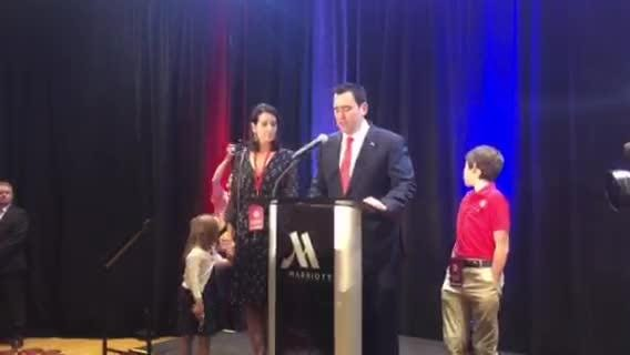 GOP candidate for governor Walker Stapleton makes a concession speech on Tuesday night at the Denver Marriot in Lone Tree.