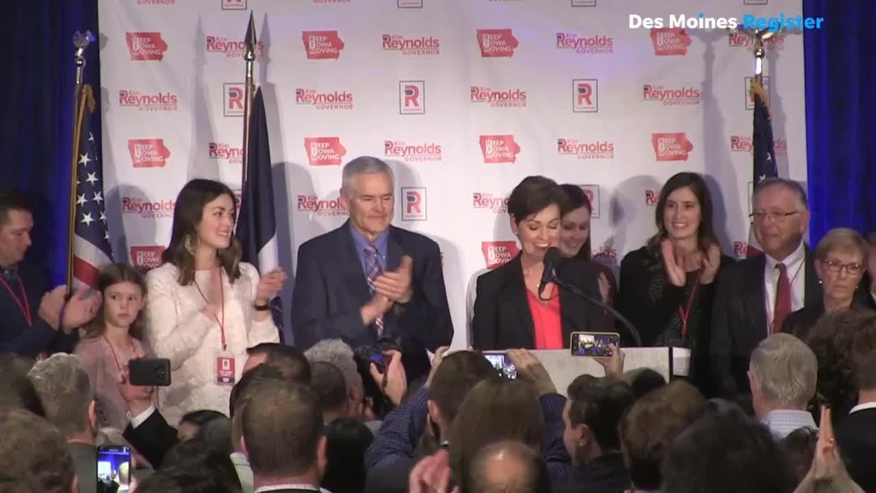 Gov. Kim Reynolds celebrates becoming the first elected female governor or Iowa.