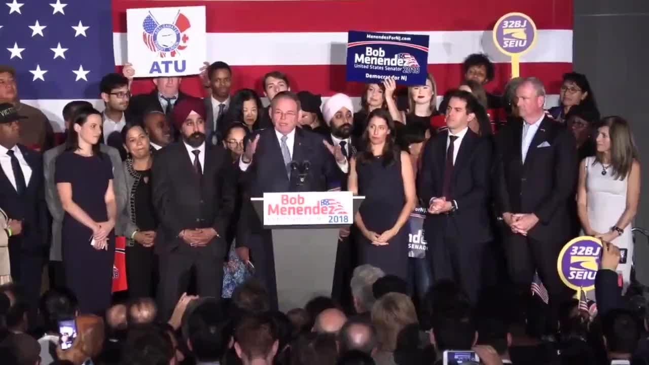 Following an introduction by NJ Gov. Phil Murphy, Sen. Bob Menendez gives his victory speech on election night Nov. 6, 2018 at campaign night headquarters in Hoboken, NJ.