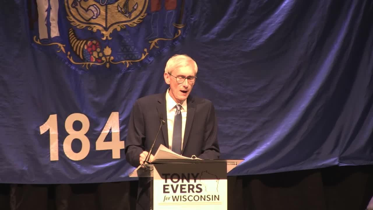 Tony Evers talks to the crowd after he was declared the winner in the Wisconsin Governor's race.