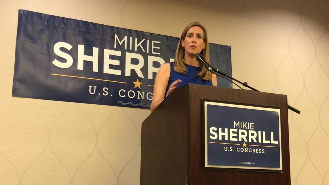 Mikie Sherrill meets with the press shortly after winning the election for Congress in New Jersey's 11th District.