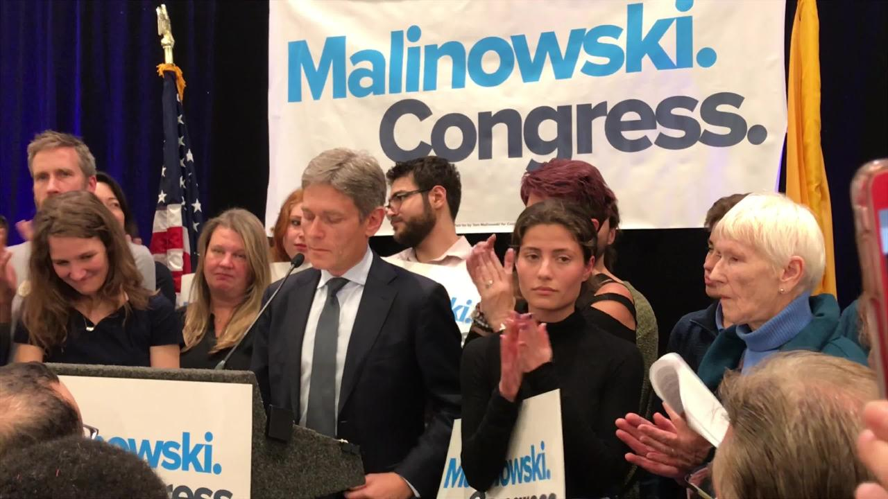 Tom Malinowski giving a victory speech at an event in Berkeley Heights after winning New Jersey's 7th Congressional District.