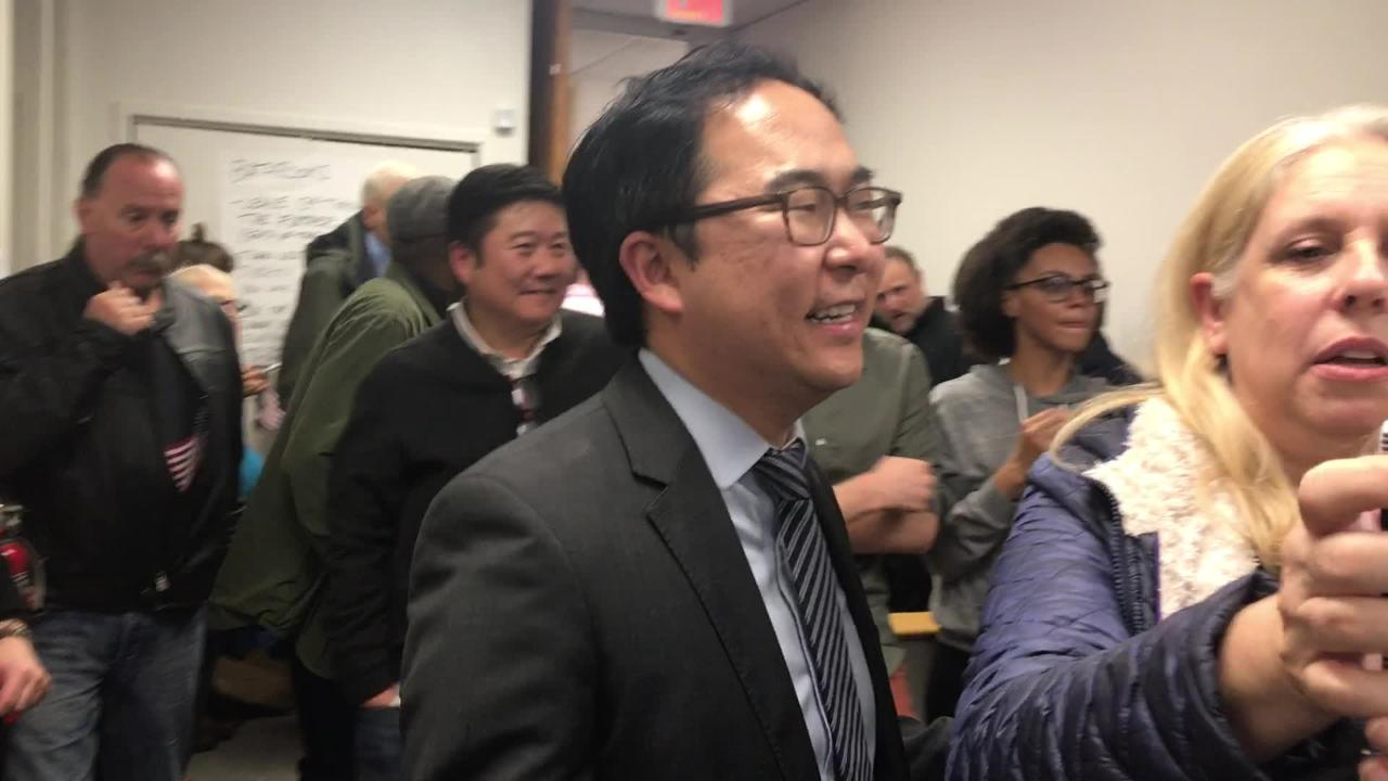 Surrounded by jubilant supporters, Democrat Andy Kim responds to an Asbury Park Press reporter's question about whether Rep. Tom MacArthur, R-N.J., has called him to concede the 3rd Congressional District race.