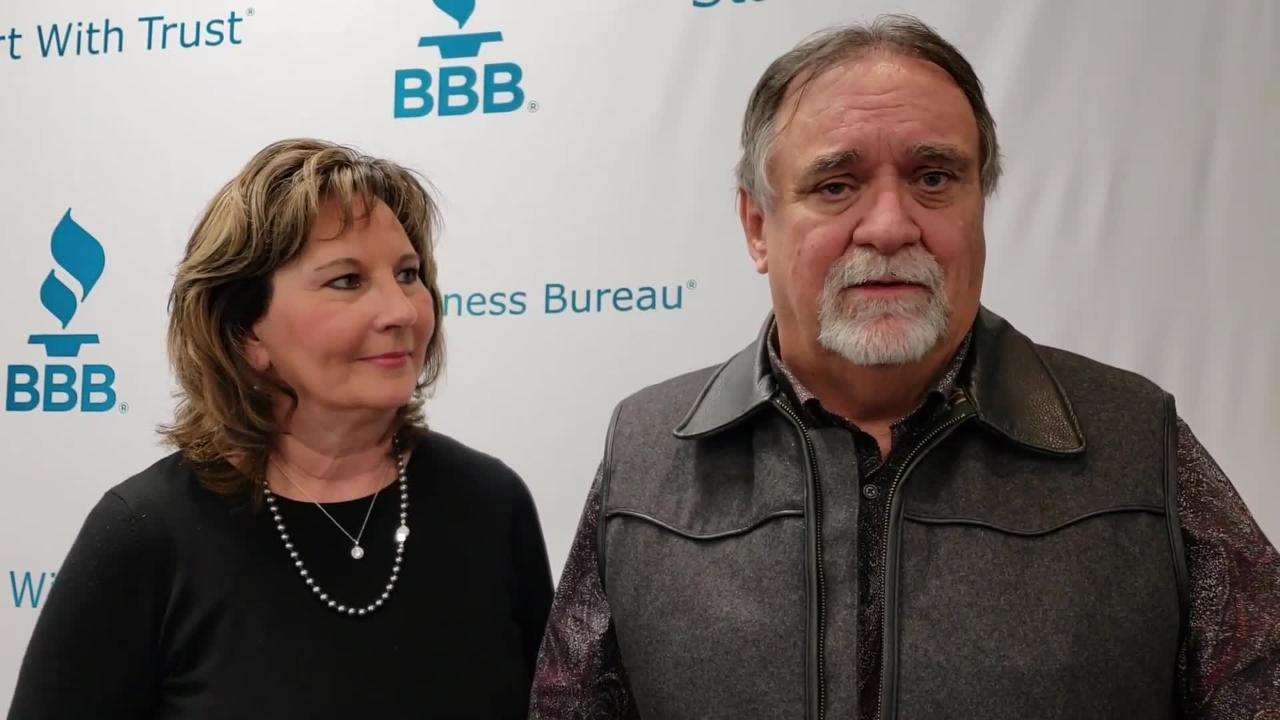 Steve and Diana Walker, owners of Walker Tradesman Construction, were given the 2018 Better Business Bureau Torch Award at a ceremony Thursday at Hardin-SImmons University.