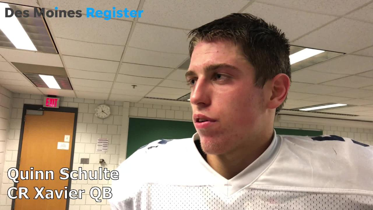 Quinn Schulte, the senior quarterback for Cedar Rapids Xavier, talks about what worked in a 37-13 win over Lewis Central on Thursday night.