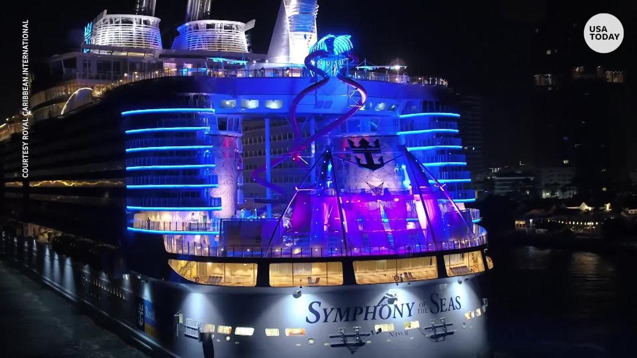 Cruise hub Miami got its biggest ship ever on Friday as Royal Caribbean's giant new Symphony of the Seas arrived for the first time. At 228,081 tons, it's the largest cruise vessel ever built.