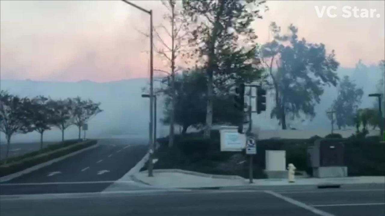 Video captures the damage of the Woolsey  fire driving north on Erbes road in Thousand Oaks.