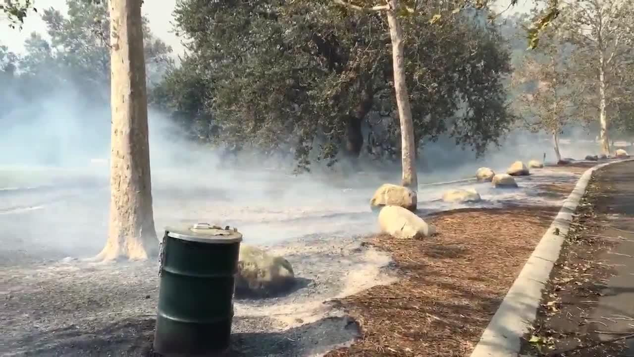 In Oak Park, a Woolsey Fire burn area blows in the wind.