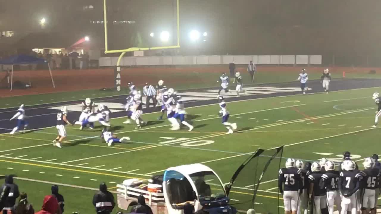 Matt Kuntz takes a pitch and runs 7 yards for a TD to put Randolph up 14-3 on Irvington in the second round of the North 2, Group 4 playoffs.