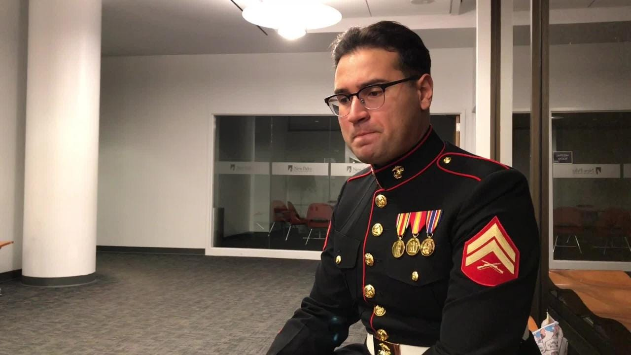 U.S. Marine Corps Reserve Corporal Daniel Oles discusses challenge of navigating college life, military