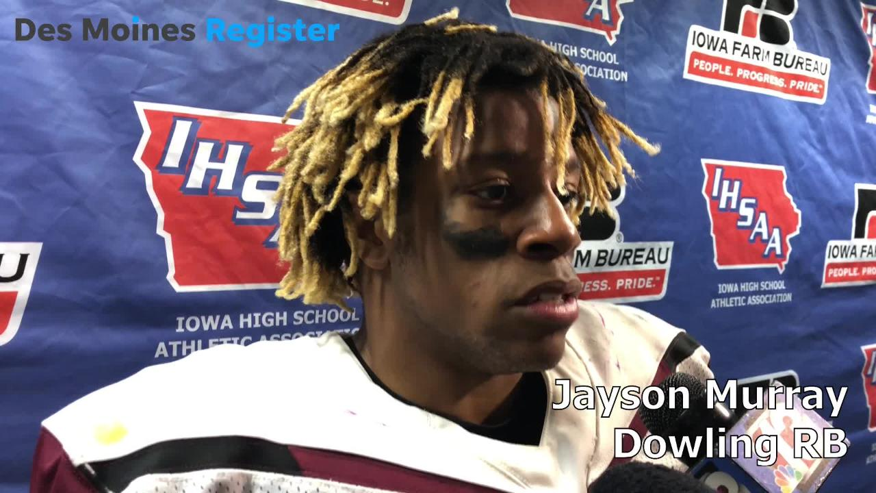 Jayson Murray, Dowling's senior running back, talked about the Maroons' 41-34 win over Bettendorf in the Class 4A state semifinals on Friday.