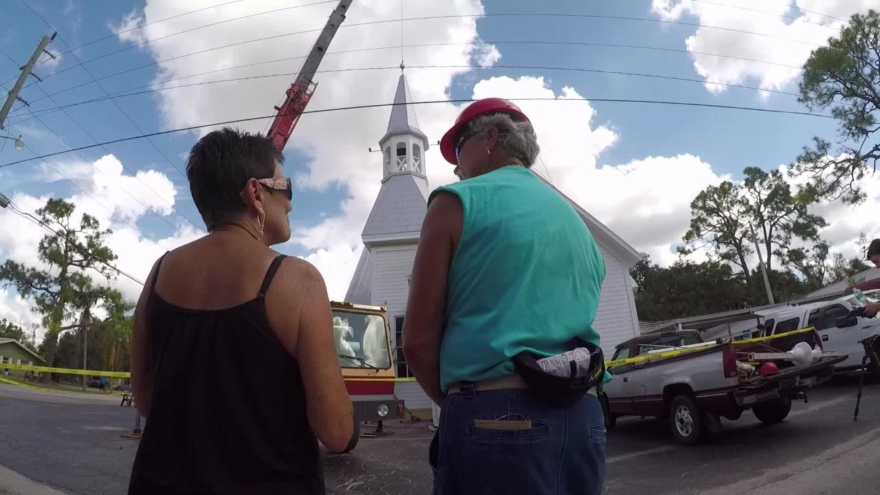 Alva Methodist church got a new steeple after Hurricane Irma toppled its last one.