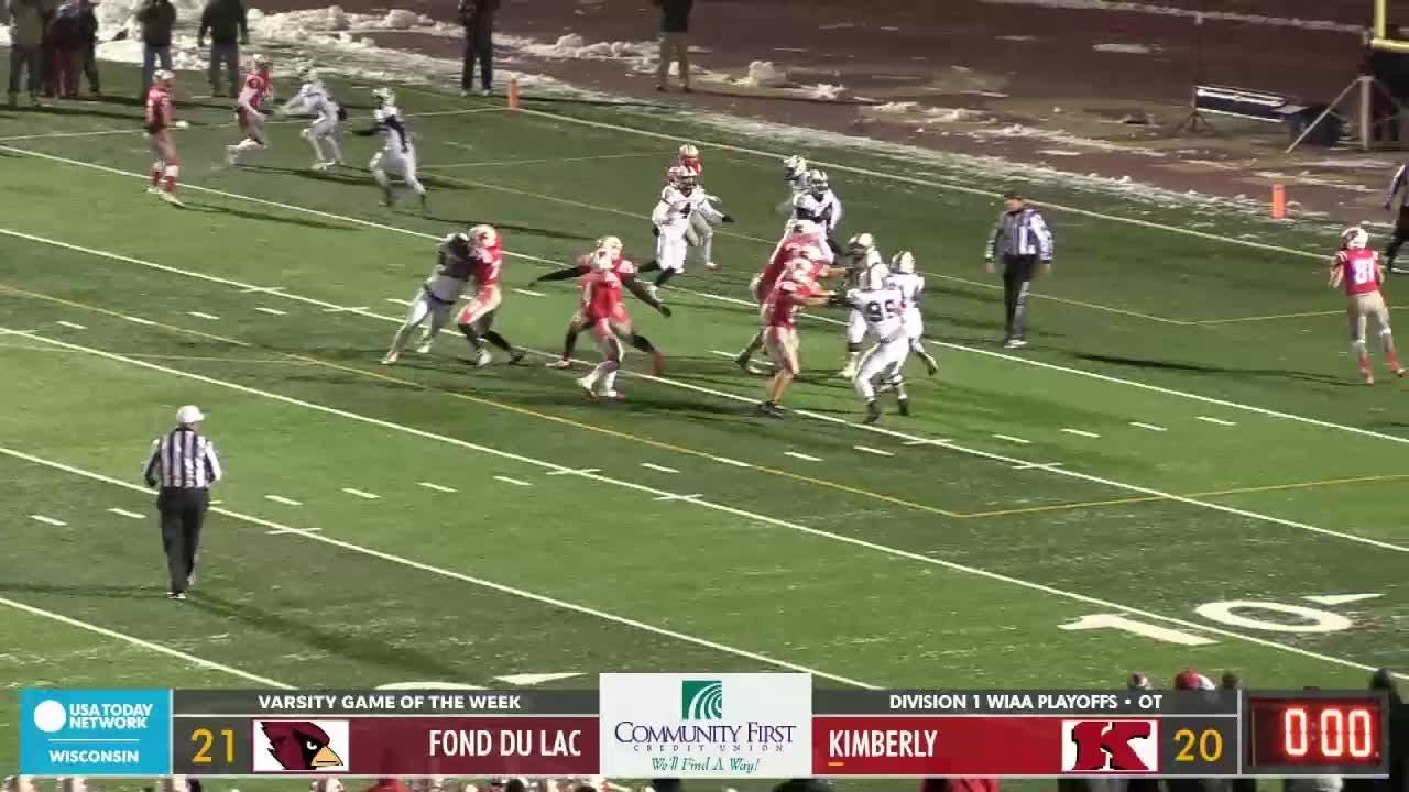 Kimberly scores game-winning two-point conversion to defeat Fond du Lac on Friday, Nov. 9, 2018, and advance to the WIAA Division 1 state championship