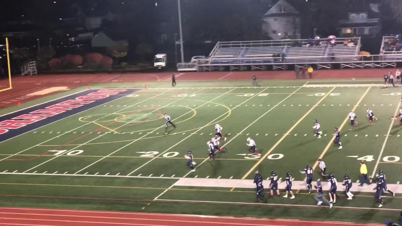 Video: Notre Dame's Kyreese Fisher scores on hook-and-ladder in intersectional game