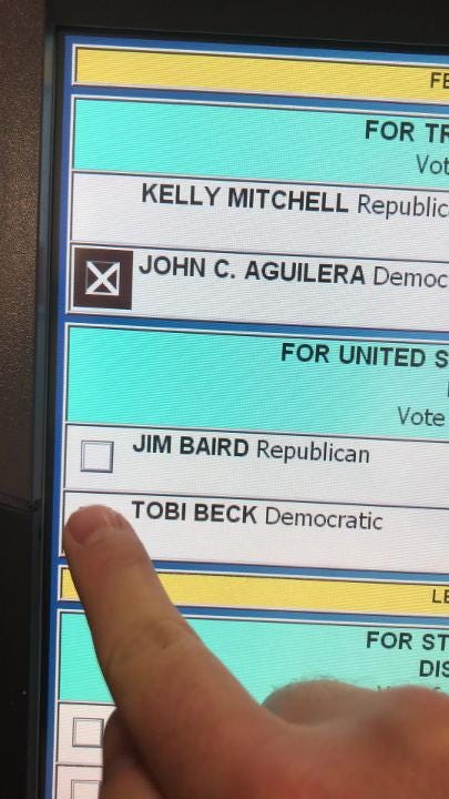 In this video, West Lafayette voter Tim Osborn attempts several times to vote for Democrat Tobi Beck only to get her 4th District opponent Jim Baird.