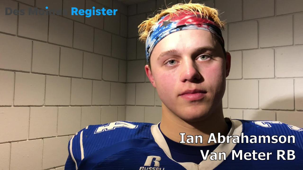 Van Meter's Ian Abrahamson talks after the Bulldogs lost to West Sioux, 38-35, in the Class 1A state semifinals at the UNI-Dome on Saturday.