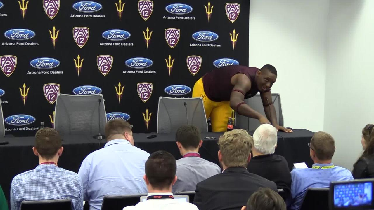 ASU's Tyler Johnson shouts out his former high school team, the Highland Hawks.