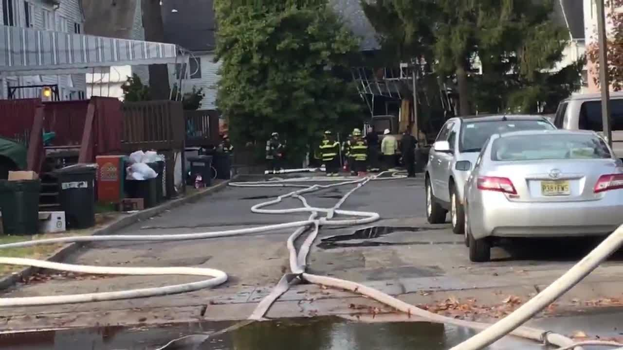 Firefighters, police, Hatzolah, NJNG on the scene of a fire in Lakewood