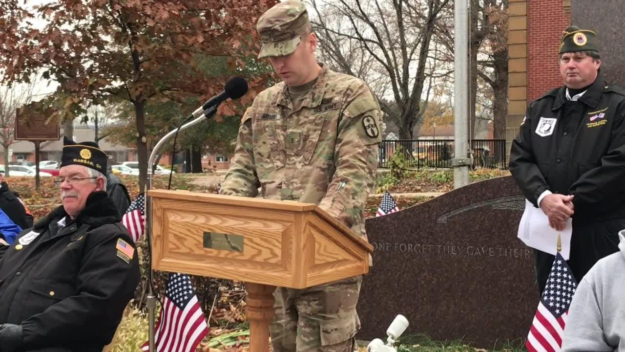 Chief Warrant Officer 3 Zac Miller defines what a veterans is and thanks them for their service during a Veterans Day ceremony Monday.