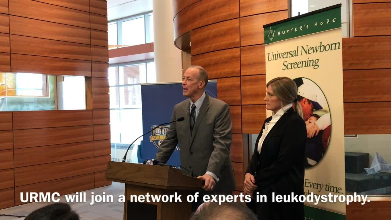 Jim and Jill Kelly announced Nov. 12 that URMC would join a network of hospitals to improve care of leukodystrophy.