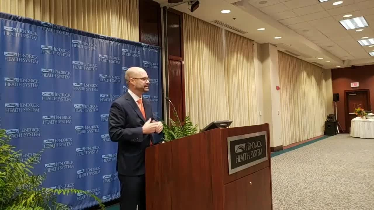 Brad Holland talks about what drew him to joining Hendrick Health System as its new president/CEO during a news conference on Monday, Nov. 12, 2018.
