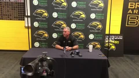 Southern Miss coach Jay Hopson recounted the end of the UAB game and gives an update on injured quarterback Jack Abraham