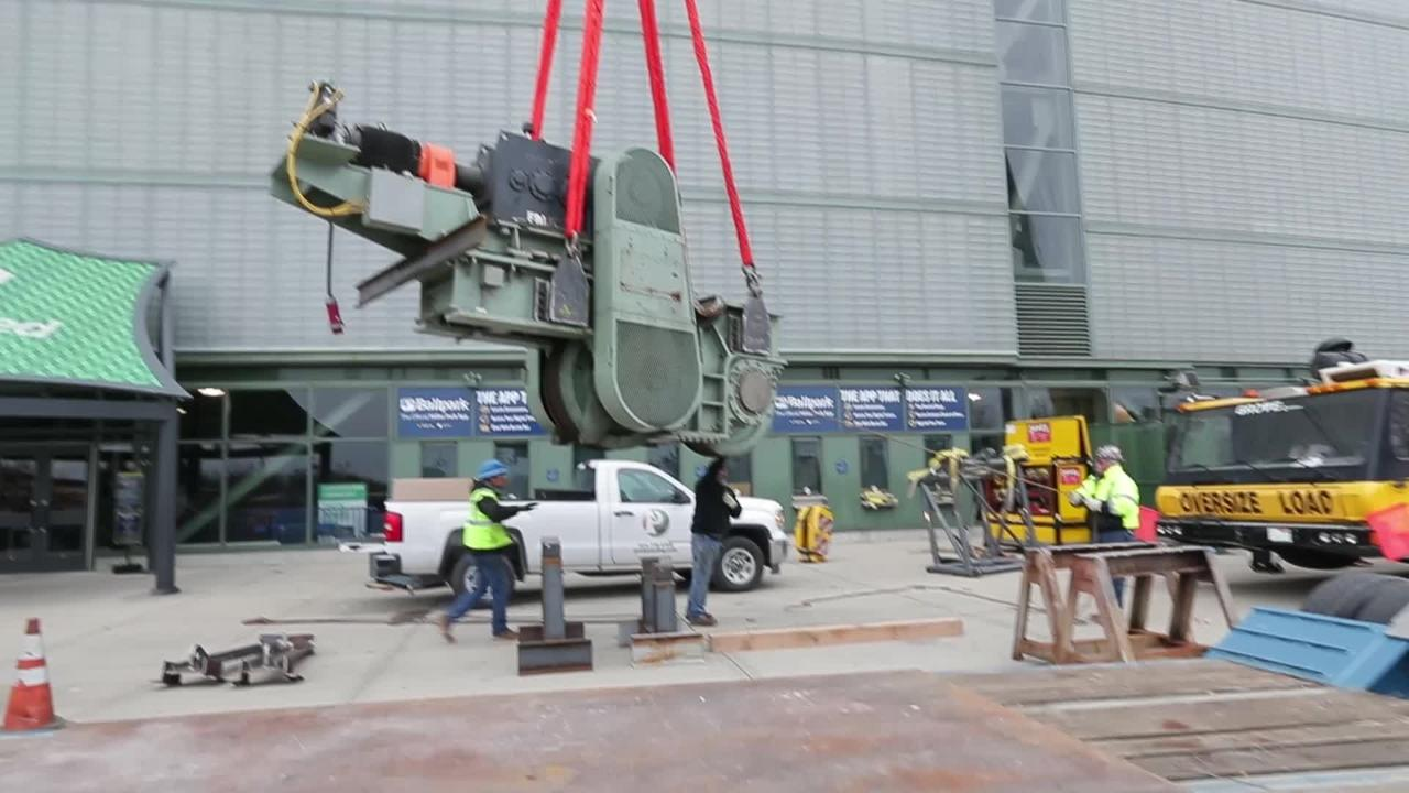 A 34-ton bogie, used to open and close the Miller Park roof, is removed. The unit will be repaired and replaced.