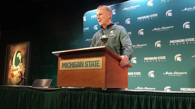 Michigan State football coach Mark Dantonio speaks to the media on Tuesday, Nov. 13, 2018, in East Lansing.