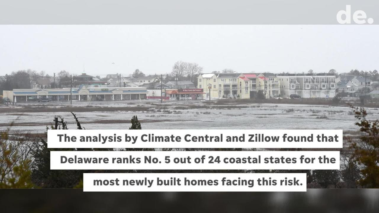 A new analysis shows more than 700 houses worth roughly $500 million have been built between 2010 and 2017 on land in Sussex County that's projected to be inundated at least once a year by 2050 unless pricey measures are taken to keep the water away.