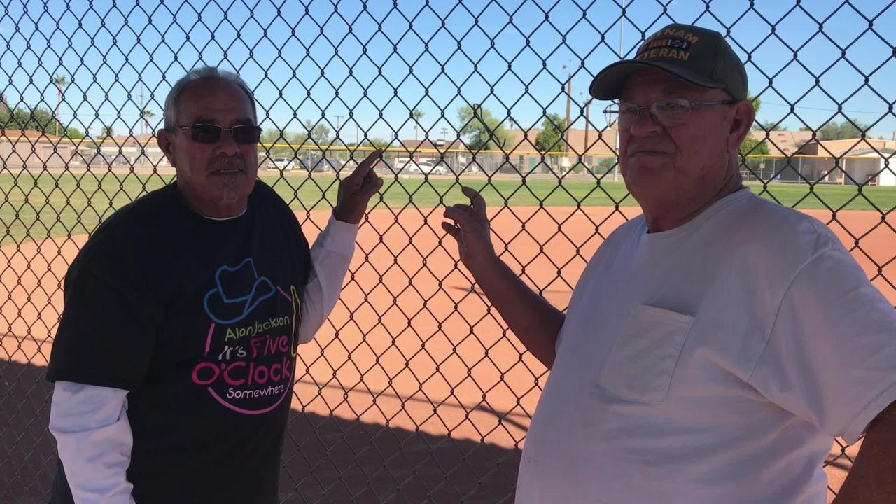 Dusty and Jerry Gaines talk about the importance of the baseball field at Floyd Gaines Park in Surprise.
