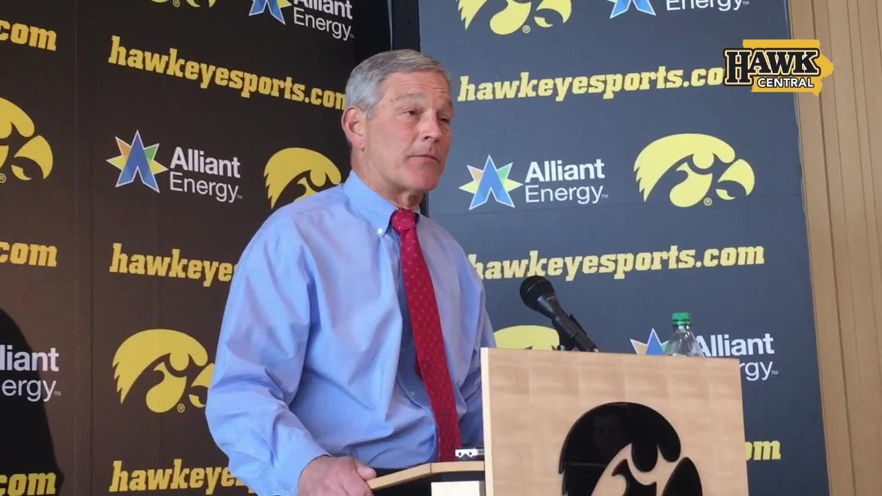 Iowa coach Kirk Ferentz proactively addressed some of his postgame comments regarding the deployment of Iowa tight end Noah Fant, then took questions.