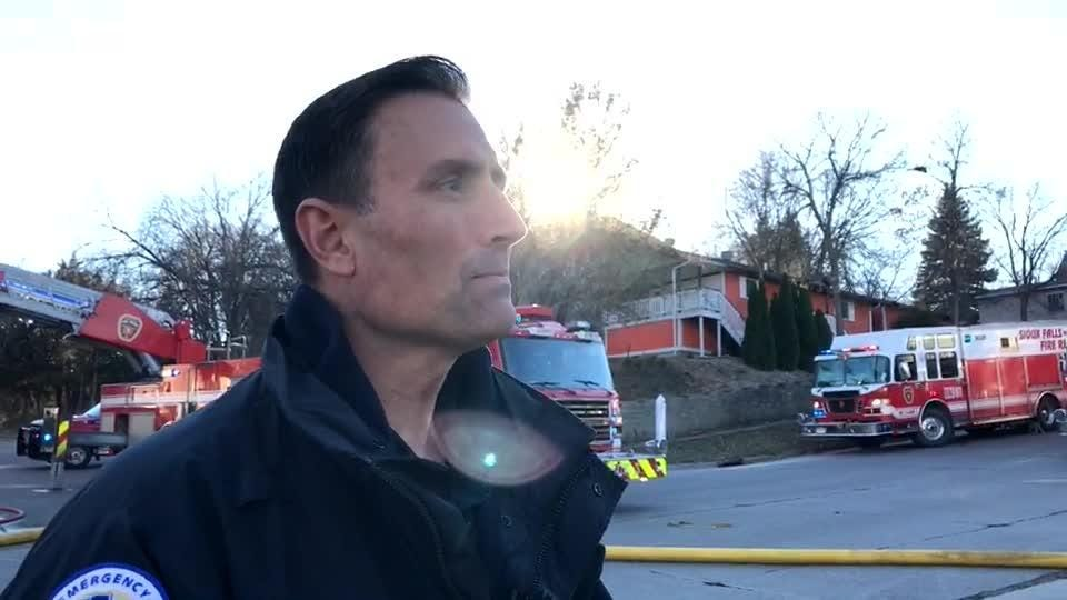 Steve Fessler, with the Sioux Falls Fire Department, provides an update on fire in central Sioux Falls. Nobody was injured.