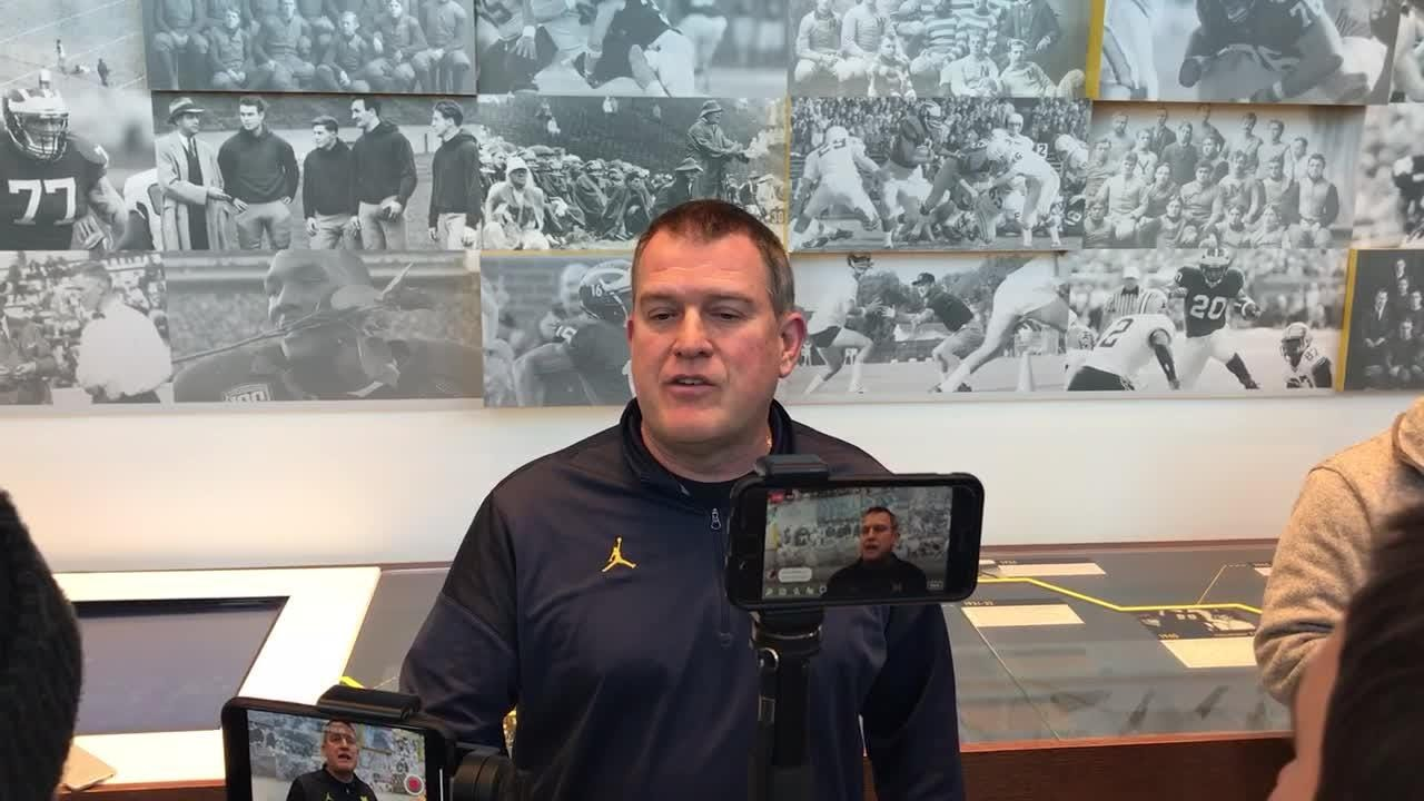 Michigan offensive line coach Ed Warinner speaks to the media on Wednesday, Nov. 14, 2018, in Ann Arbor.