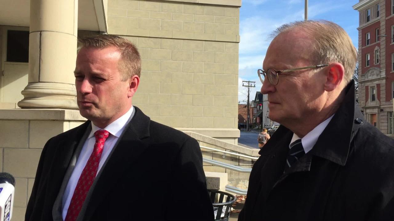 Broome County District Attorney Steve Cornwell, left, reacts to James Giacalone getting 12 years in prison for attempted assault against a NY trooper.