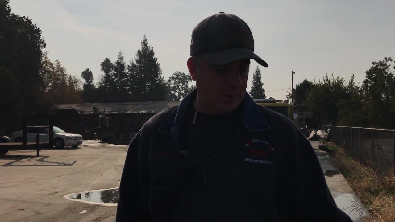 Three-alarm fire destroys Visalia business